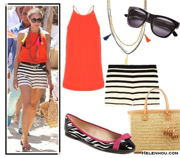 What to Wear on Vacation; how to wear prints, stripes and bold colors; Olivia Palermo, spring/summer, street style,  floral print dress, striped shorts,red top, ballet flats, straw tote,   On Olivia Palermo: TIBI Striped knitted-cotton shorts,  Mar Y Sol straw bag, Tibi Cami Silk Halter, Westward Leaning sunglasses, Pretty Ballerinas printed mesh ballet flat;   Alternatives:  tibi Solid Silk Halter,  Tibi Striped knitted-cotton shorts,  'Biancospino' Zebra Print Ballet Flat,  Tory Burch Chunky Straw Tote,  BCBGMAXAZRIA Multi-Chain Bohemian Necklace,  Westward LeaningChildren of California Acetate Square Sunglasses