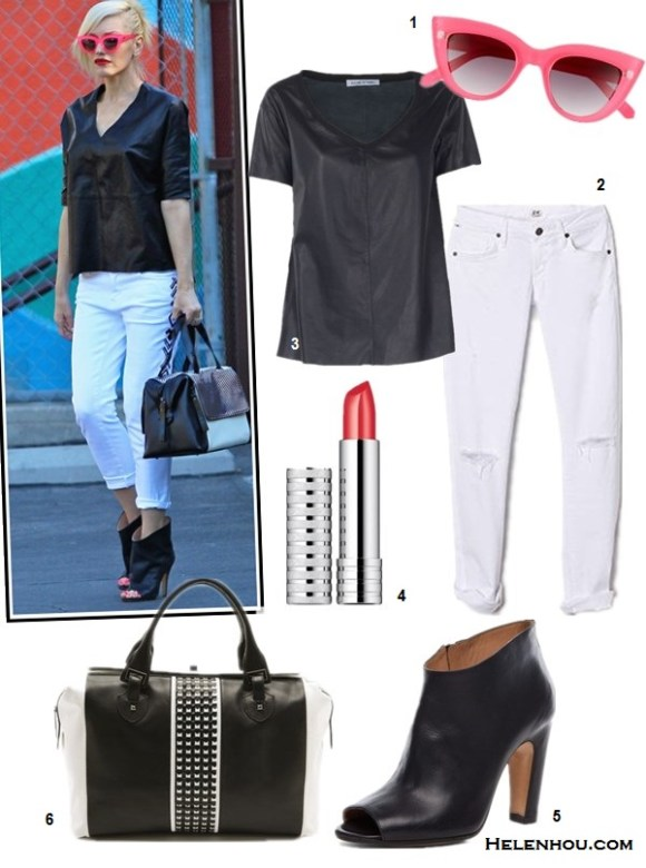 how to wear white jeans, how to wear black and white, how to wear leather, Alessandra Ambrosio, Gwen Stefani, spring/summer, street style, leather jacket, white jeans,ankle boots, peep toe boots, leather top, pink sunglasses,  On Gwen Stefani:Quay 'Kitti' pink cat eye Sunglasses, L.A.M.B. bag, Maison Martin Margiela black leather peep toe booties, white jeans, black leather top,  Alternatives:  Quay 'Kitti' Sunglasses,  Citizens of Humanity Racer Skinny Jeans,  Elizabeth and James 'Esme' Leather Tee,  Clinique Long Last Soft Shine Lipstick,  Maison Martin Margiela Peep Toe Bootie,  L.A.M.B. Aarika colorblock Satchel,