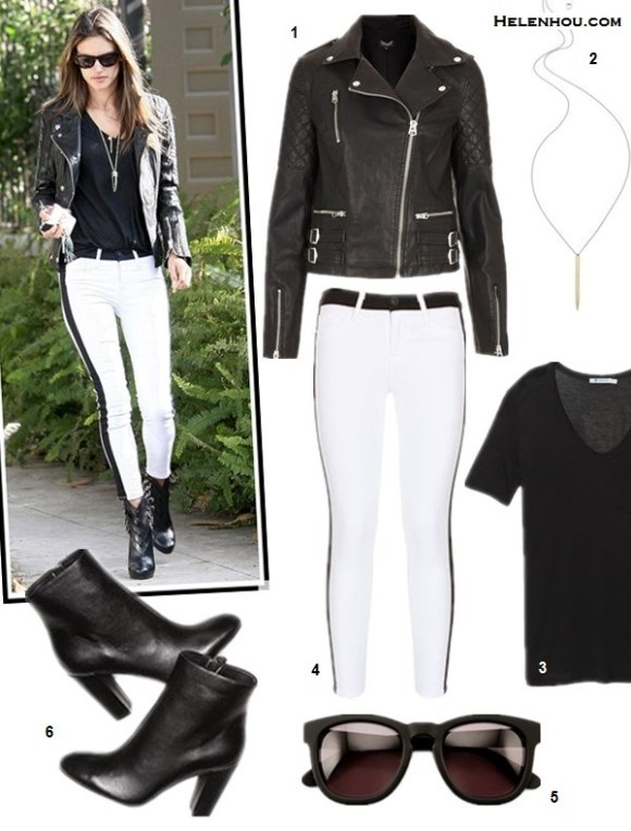 how to wear white jeans, how to wear black and white, how to wear leather, Alessandra Ambrosio, Gwen Stefani, spring/summer, street style, leather jacket, white jeans,ankle boots, peep toe boots, leather top, pink sunglasses,  On Alessandra Ambrosio:Hudson LeeLoo jeans in Vice Versa,anine bing Moto Leather Jacket, Christian Louboutin booties, Wildfox sunglasses, Gorjana Taner necklace;  Alternatives:  Topshop 'Wylde' Faux Leather Biker Jacket,  Gabriela Artigas Stick Pendant Necklace,  T by Alexander Wang Classic T Shirt with Pocket,  Hudson Jeans white side stripe jeans,  Wildfox The Classic Fox Sunglasses,  Jean-Michel Cazabat Noni Short Leather Bootie,