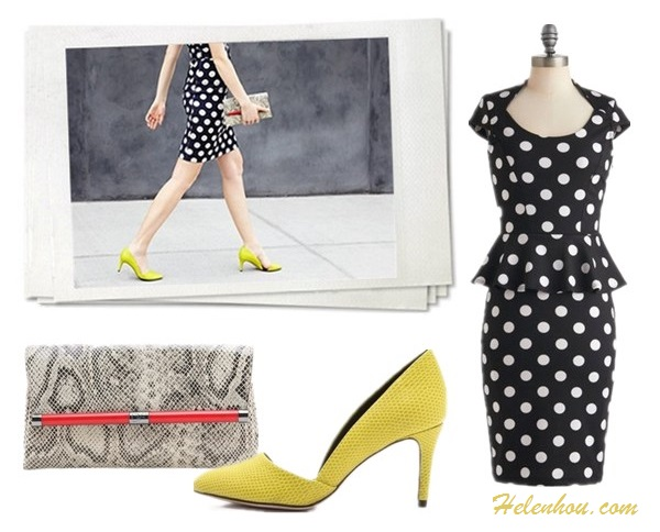 Featured: Kristina Bazan, Shopbop lookbook, Faustine Steinmetz, Aerin Lauder, Teresa Palmer, Teresa Palmer, Angela Scanlon.  blue dress, white bag, polka dot dress, yellow pump, python clutch, pink skirt, red shoes, strap shoes, pearl necklace, spiked jewelry;  On Shopbop lookbook: Rebecca Minkoff Brie Mid Heel Pumps, Moschino Sleeveless Polka Dot Dress, Diane von Furstenberg 440 Envelope Python Clutch;  Also featured: ModCloth peplum polka dot Dress