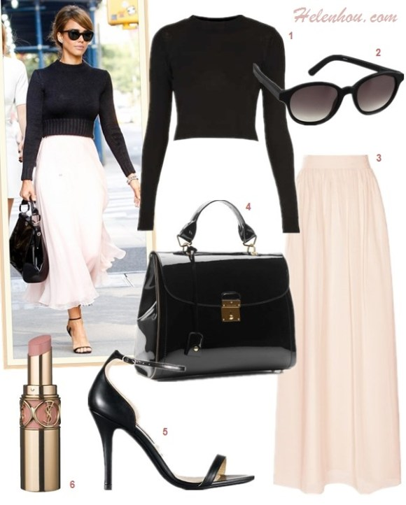 how to wear a maxi skirt, how to wear tulle skirt, how to wear a pleated skirt, how to wear a crop top,   Olivia Palermo, Jessica Alba, fashion week, street style,  On Jessica Alba: Ralph Lauren black crop sweater, Ralph Lauren pink maxi skirt, Ralph Lauren patent leather bag, Ralph Lauren cat eye sunglasses, Ralph Lauren Bliesta Calfskin ankle strap Sandal, Ralph Lauren watch,   Featured:  1. Topshop Knitted Funnel Cropped Top, 2. Elizabeth and James Madison Sunglasses, 3. Reiss Mason Maxi MAXI SKIRT, 4. Marc Jacobs The 1984 Patent Satchel Bag, 5. Ralph LaurenBliesta Calfskin Sandal, 6. Yves Saint Laurent ROUGE VOLUPTÉ