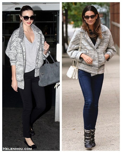 how to wear a cocoon coat, how to wear an oversized jacket,  Miranda Kerr, Lily Aldridge, street style, fashion week,Stella mccartney,  Isabel Marant, wool jacket, skinny jeans, ballet flat, balmain, grey bag, crossbody bag, ankle booties,   On Miranda Kerr: Stella mccartney Oversized Round Sunglasses,Isabel Marant Ioline Boiled Wool Jacket in Grey,Frame Denim Le Luxe Noir stretch-satin twill skinny jeans,Balenciaga Calf Hair Arena Classique Ballerina Flat,Isabel Marant Étoile Almon cashmere-blend T-shirt.  On Lily Aldridge:Celine crossbody bag, Oliver Peoples Afton Round Stud-Temple Sunglasses, Cocobolo,Isabel Marant Ioline Boiled Wool Jacket in Grey,rag & bone/JEAN Dark High Rise Skinny Jeans in Heritage Wash,Isabel Marant Tacy suede, printed calf hair and leather boots