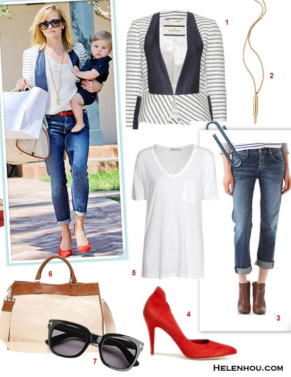 how to wear boyfriend jeans, Celebrity Mom Style,denim on denim,    On Reese Witherspoon: By Malene Birger striped jacket,   Celine colorblock sunglasses, Danzo Baby Weekender Diaper   Bag, GoldSign boyfriend crop jeans, By Malene Birger Red   Atenera Suede Court Shoes, gold long necklace, red skinny   belt.  Featured:   1. By Malene Birger Etioloa Stripe Cotton Jacket by By Malene Birger,  2. CC SKYERevolver Pendant Necklace,  3. Citizens of HumanityDylan Boyfriend Jeans, 4. By Malene BirgerRed Atenera Suede Court Shoes,  5. T by Alexander WangClassic T Shirt with Pocket,  6. Danzo Baby Weekender Diaper Bag,  7. Tom Ford Campbell Square Sunglasses,