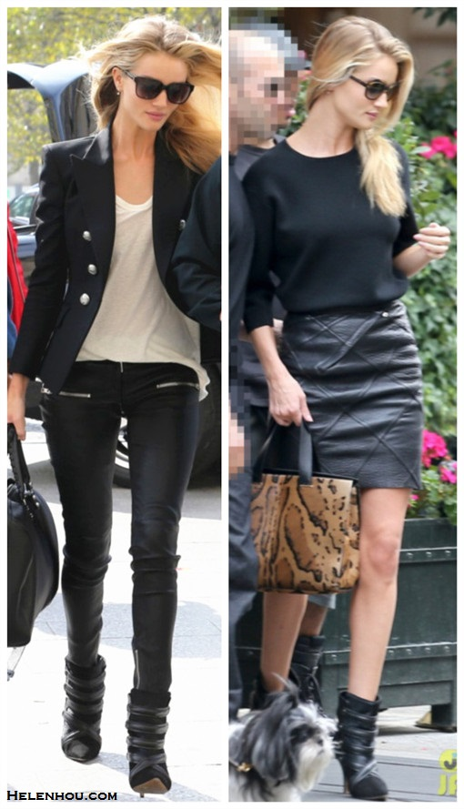 how to wear leather pants or skirts, how to wear black, Rosie Huntington-Whiteley, street style, balmain black blazer, white tee, black leather pants, Isabel Marant booties, jbrand black crop sweater, black leather mini skirt, GIORGIO ARMANI leopard bag,  On Rosie Huntington-Whiteley:Balmain Jacquard Double-Breasted Blazer,ANINE BING Leather Skinny Pant,Isabel Marant 'Tacy' low boots,Isabel Marant Étoile 'Tee Almon' T-shirt,Balenciaga Voyage 24H;  On Rosie Huntington-Whiteley: Isabel Marant TACY SUEDE AND CALF HAIR ANKLE BOOTS,J Brand Ready to Wear Griffith Cropped Knit Sweater,Oliver Peoples 'Haley' sunglasses,GIORGIO ARMANI stained leopard print handbag,Loewe x Junya Watanabe leather skirt,