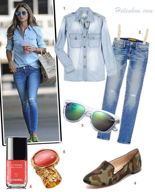 how to wear denim on denim; olivia palermo, street style, new york fashion week 2014;   On olivia palermo: BCBG white tuxedo blazer, Top Shop denim shirt, AG distressed jeans, Tibi black and red Ankle Strap Heels, Delvaux Tempête MM black leather bag, leopard sunglasses; On olivia palermo:Westward Leaning mirrored sunglasses, Topshop denim chambray shirt, Rebecca Minkoff skinny distressed jeans, Pretty Ballerinas camo loafer;  Featured: Current/ElliottThe Perfect denim Shirt,  Rebecca MinkoffJane Skinny Jean,  Westward Leaning Color Revolutions Acetate Square Sunglasses,  Sam Edelman Alvin Haircalf camo Loafers,  Saint Laurent Goldtone Arty Ovale Ring,  Chanel NAIL COLOUR