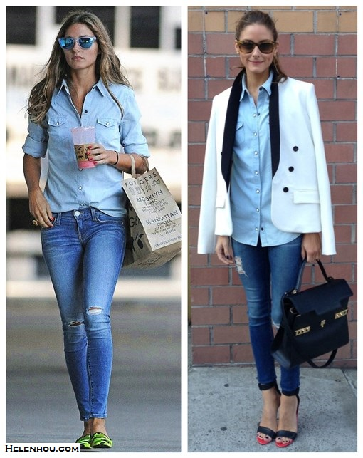 how to wear denim on denim; olivia palermo, street style, new york fashion week 2014;   On olivia palermo: BCBG white tuxedo blazer, Top Shop denim shirt, AG distressed jeans, Tibi black and red Ankle Strap Heels, Delvaux Tempête MM black leather bag, leopard sunglasses; On olivia palermo:Westward Leaning mirrored sunglasses, Topshop denim chambray shirt, Rebecca Minkoff skinny distressed jeans, Pretty Ballerinas camo loafer;