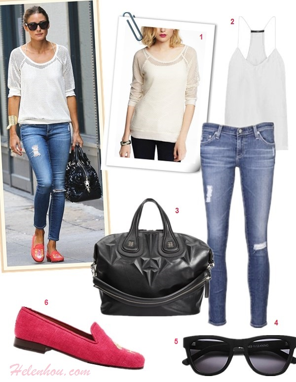 skinny jeans outfit ideas; street style, olivia palermo, miranda kerr, how to wear distressed jeans, how to wear white blazer,  On olivia palermo: express Mesh Baseball Tee, tibi silk top cami, AG Adriano Goldschmied distressed jeans, Stubbs & Wootton loafer, Westward Leaning sunglasses, silver cuff, black textured leather bag;  On Miranda Kerr: Manolo Blahnik BB Pearly Patent Pump, MCS Elena bracelet, Lanvin Flap Shoulder Bag, Stella McCartney white jacket, Stella McCartney sunglasses, Frame denim skinny jeans;  Featured:  Express MESH BASEBALL TEE,  Tibi Classic Racer Back Camisole, Givenchy Nightingale 3D Stud Medium Satchel Bag,  AG Adriano Goldschmied Jeans,  Westward Leaning Children of California Acetate Square Sunglasses,  STUBBS & WOOTTON Flamingo Embroidered Woven Dress Slippers,
