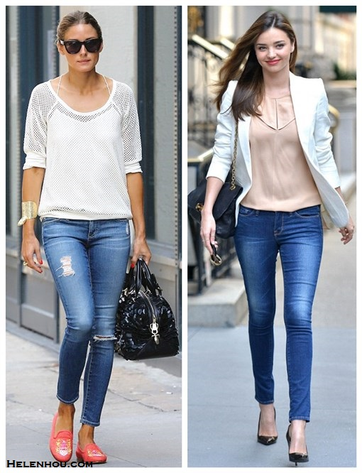 skinny jeans outfit ideas; street style, olivia palermo, miranda kerr, how to wear distressed jeans, how to wear white blazer, On olivia palermo: express Mesh Baseball Tee, tibi silk top cami, AG Adriano Goldschmied distressed jeans, Stubbs & Wootton loafer, Westward Leaning sunglasses, silver cuff, black textured leather bag;  On Miranda Kerr: Manolo Blahnik BB Pearly Patent Pump, MCS Elena bracelet, Lanvin Flap Shoulder Bag, Stella McCartney white jacket, Stella McCartney sunglasses, Frame denim skinny jeans;