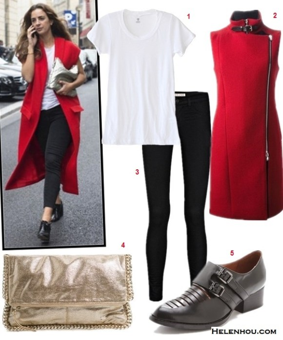 The art of accessorizing-Alexia Niedzielski, white T-shirt, Skinny jeans, oxford, metallic clutch, red sleeveless coat