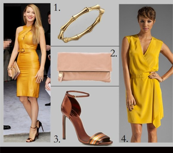 fall 2013 holiday party outfit ideas,How to Wear Fall Colors,how to wear emerald green, halter neck dresses,  Blake Lively, fashion week 2014, party outfit idea, fall/winter, yellow gucci dress, brown sandal heel, nude clutch, green embellished gucci dress, gucci crossbody bag, gucci peep toe sandal, On Blake Lively at Milan Fashion Week:Gucci Resort 2014 Dress,Gucci Broadway Leather Hard Case Clutch in teal ,Gucci Lili Satin Platform Pumps, Featured:  Gucci 18K Gold Small Bamboo Bangle Bracelet,  CLARE VIVIERFOLD OVER CLUTCH,  Gucci MULTICOLOR LEATHER SANDAL,  Tibi SOLID SILK WRAP DRESS,