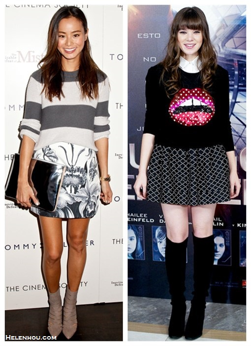 The art of accessorizing-Jamie Chung,Hailee Steinfeld, printed skirt, Lips sweater, Stuart Weitzman  boots, CUTOUT BOOTIES,  silver clutch