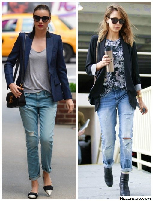 how to wear distressed boyfriend jeans, how to wear blazers,   Miranda Kerr, Jessica Alba, street style, fall/winter, Stella Mccartney, Louis Vuitton, miu miu, Rag & Bone, Frame Denim, navy blazer, distressed jeans, colorblock flat, crossbody bag, black blazer, ankle booties, floral print top,   On Miranda Kerr: Stella Mccartney jacket, Isabel Marant Etoile Tank Top,Louis Vuitton crossbody bag,  Marc Jacobs sunglasses, Frame Denim LE GARCON DISTRESSED SLIM BOYFRIEND JEANS,miu Miu Bow-embellished patent-leather loafers,   	 On Jessica Alba: Jennifer Meyer Diamond Curved Stick Necklace – Yellow Gold,Rebecca Minkoff Becky Jacket,Westward Leaning Love Thy Neighbor Acetate Square Sunglasses,Rag & Bone Newbury booties, black and white floral t shirt, chanel bag, Bvlgari watch, distressed jeans
