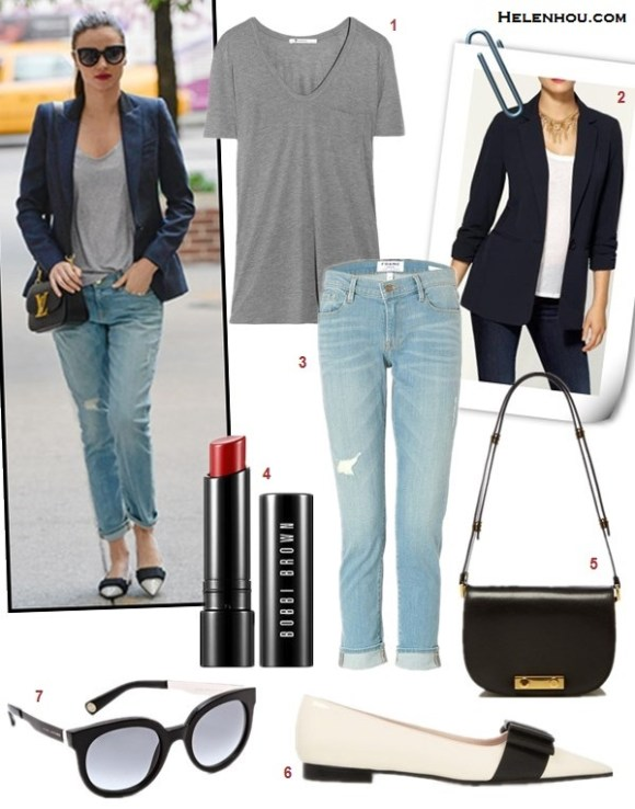 how to wear distressed boyfriend jeans, how to wear blazers,   Miranda Kerr, Jessica Alba, street style, fall/winter, Stella Mccartney, Louis Vuitton, miu miu, Rag & Bone, Frame Denim, navy blazer, distressed jeans, colorblock flat, crossbody bag, black blazer, ankle booties, floral print top,   On Miranda Kerr: Stella Mccartney jacket, Isabel Marant Etoile Tank Top,Louis Vuitton crossbody bag,  Marc Jacobs sunglasses, Frame Denim LE GARCON DISTRESSED SLIM BOYFRIEND JEANS,miu Miu Bow-embellished patent-leather loafers, Featured:  1. T by Alexander Wang classic T-shirt, 2. MICHAEL MICHAEL KORS JACKET, V NECK THREE QUARTER RUCHED POCKET BOYFRIEND BLAZER, 3. Frame Denim LE GARCON DISTRESSED SLIM BOYFRIEND JEANS,  4. Bobbi Brown Creamy Matte Lip Color red carpet,  5. Marni shoulder bag,  6. miu miu Bow-embellished patent-leather loafers,   7. Marc Jacobs SunglassesACETATE SUNGLASSES,