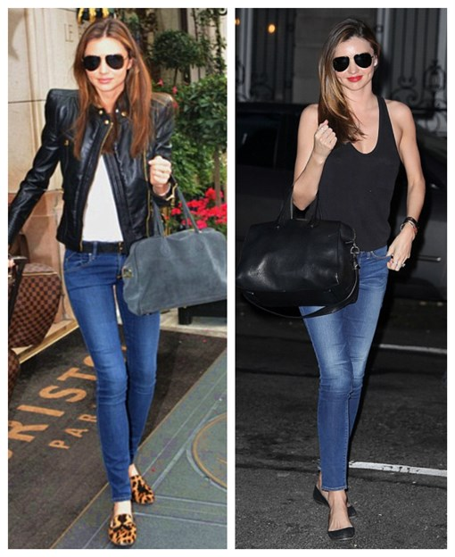 How to wear a leather biker jacket, how to wear leopard,   how to wear slipper loafer,  Miranda Kerr,street style, fall/winter,fashion week,  On Miranda Kerr:Givenchy Antigona Satchel Bag Medium,   Frame denim Le Skinny de Jeanne Jeans,Givenchy black   ballet flat, Oliver Peoples aviator sunglasses, black   tank top, red lip color, On Miranda Kerr: Balmain Leather biker jacket,Oliver   Peoples aviator sunglasses,balmain grey suede bag,   balmain black belt, Prada leopard loafer, white tank top;