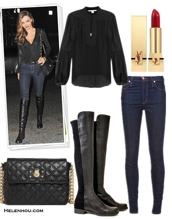 how to wear knee high or over the knee boots,  Lily Aldridge, Miranda Kerr, fall/winter, street style,   striped sweater, skinny jeans, ISABEL MARANT, 3.1 Phillip   Lim,balmain, nobody jeans, black blouse,Stuart Weitzman   boots, lavin bag,      On Miranda Kerr: Lanvin black quilted chain bag, NOBODY   Deep navy Cult Skinny Jeans,Balmain black leather belt,   Stuart Weitzman 50/50 knee high Boot,  Featured:  Diane von Furstenberg ISOLDE TOP,  NOBODY DEEP NAVY CULT SKINNY JEANS,  Stuart WeitzmanSTUART WEITZMAN - 5050,  Marc Jacobs 'QUILTING - LARGE SINGLE' LEATHER SHOULDER BAG ,  Yves Saint Laurent 'Rouge Pur Couture' Lip Color