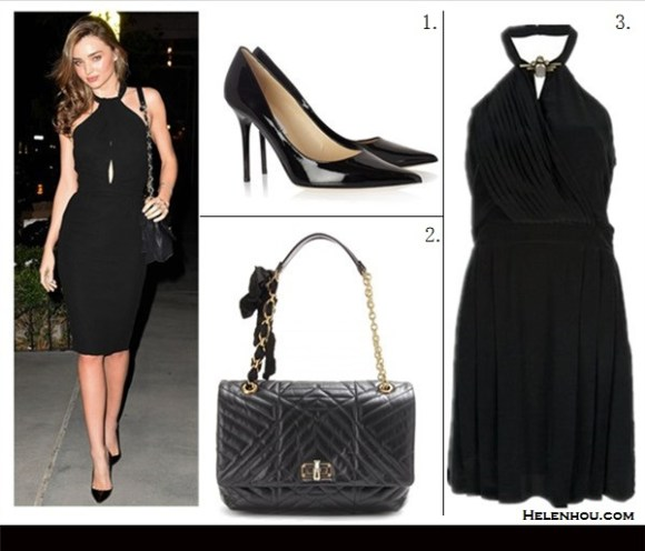 how to wear cutout, little black dress,2013 party outfit   ideas,   Miranda Kerr, Heidi Klum, black cut out  halter neck dress, party outfit, black pump, night out wear,Lanvin, Versace,Jimmy Choo, On Miranda Kerr:Lanvin quilted 'Happy bag,Giambattista   Valli Cady Halter black Dress,black patent leather pointy   toe pump; Featured: JIMMY CHOO 'ABEL' PATENT LEATHER PUMP,  SPACE SLEEVELESS DRESS,  LANVIN HAPPY QUILTED LEATHER BAG,