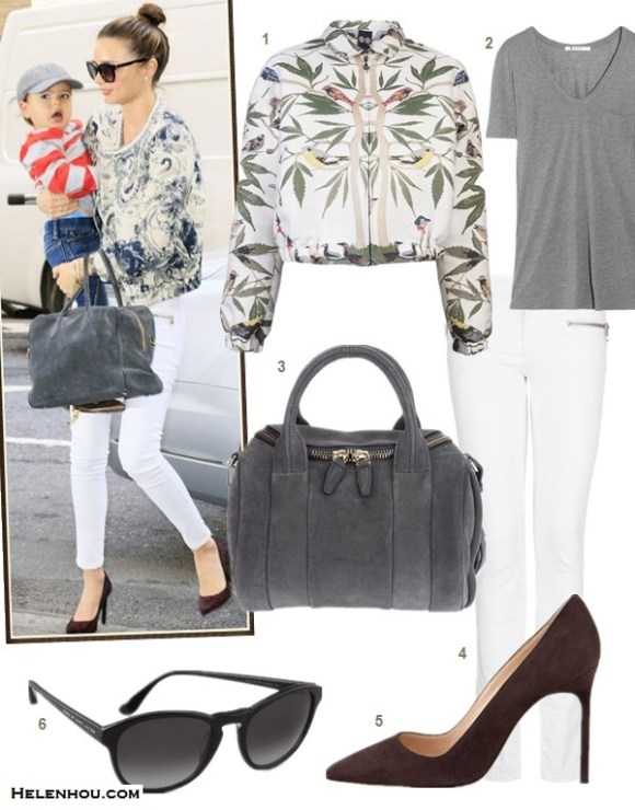 how to wear: white in fall/winter, printed pants, bomber jacket, white skinny jeans,   Miranda Kerr, paris fashion week, street style, fall/winter, printed bomber jacket, white jeans, black pump, grey bag, white jacket, printed pants  on Miranda Kerr:Mango Super slim-fit zip white jeans, MCS   Elena and Zoe & Morgan bracelet, Rolex watch, Balmain   Pierre grey suede bag, Marc Jacobs cat eye sunglasses,   Proenza Schouler black pump,printed jacket, grey shirt,  Featured:  1. MOTHER OF PEARLMOTHER OF PEARL JACQUARD BOMBER jacket,  2. T by Alexander WangCLASSIC T SHIRT WITH POCKET ,  3. Alexander Wang Rockie Satchel ,  4. MANGO Super slim-fit zip white jeans Jeans,  5. Manolo Blahnik BB Suede Pointed-Toe Pump, 6. Marc by Marc JacobsRound Sunglasses