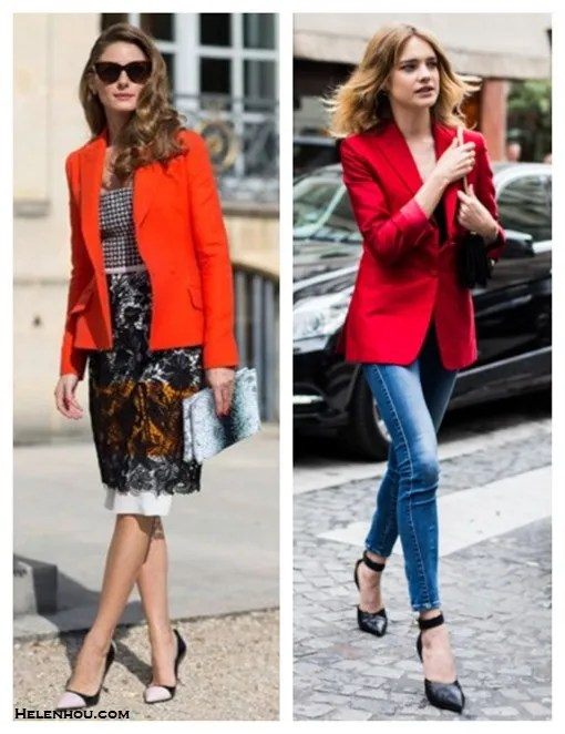 how to wear a red blazer,how to wear lace,how to wear gingham,  Olivia Palermo, Natalia Vodianova, street style,fashion week, fall/winter, Christian Dior, valentino, stella mccartney, lace skirt, colorblock pump, skinny jeans, ankle strap pump,
