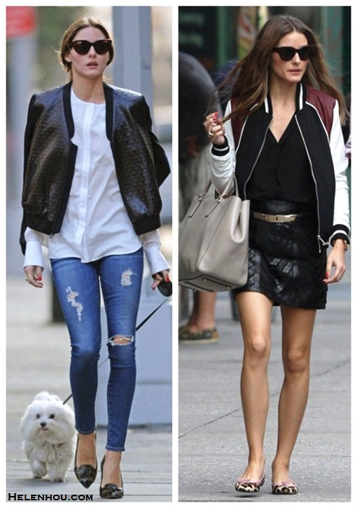 how to wear a bomber jacket, how to wear a leather skirt,  Olivia Palermo, street style, fall/winter bomber jacket, distressed jeans, white shirt, black blouse, leather skirt, leopard pump, camo heel,   On Olivia Palermo: Susan Woo white shirt,  tibi DIAMOND QUILTING BOMBER JACKET, AG Adriano Goldschmied The Legging Ankle distressed Jeans, Gianvito Rossi Camouflage-print pony hair pumps,  On Olivia Palermo: Christian Dior cat eye sunglasses, Anya Hindmarch Ebury textured-leather tote, Hive & Honey Varsity Colorblock Jacket,tibi Chevron Leather Mini Skirt, french sole leopard ballet flats,