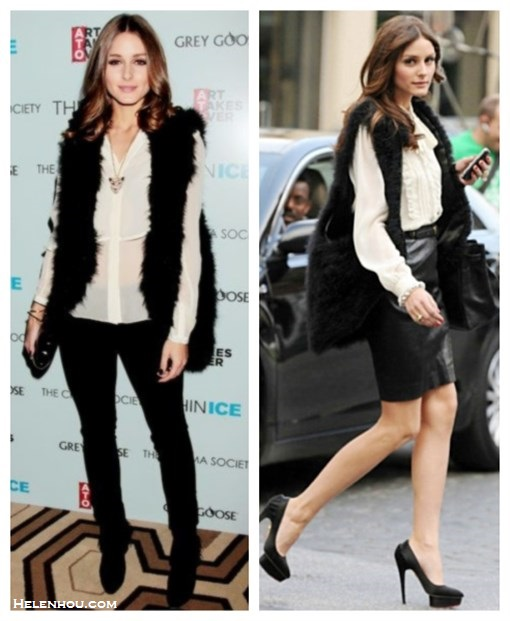 how to wear a fur vest, how to wear leather, 	  Olivia Palermo, street style, fashion week, fur vest, skinny jeans, ankle boots, white blouse, black box clutch, necklace, gold bracelet,  leather skirt, Charlotte Olympia pump,hermes bag, louis vuitton red bag, leather pants, booties, yellow clutch, Manolo Blahnik pump, cat eye sunglasses,black sweater