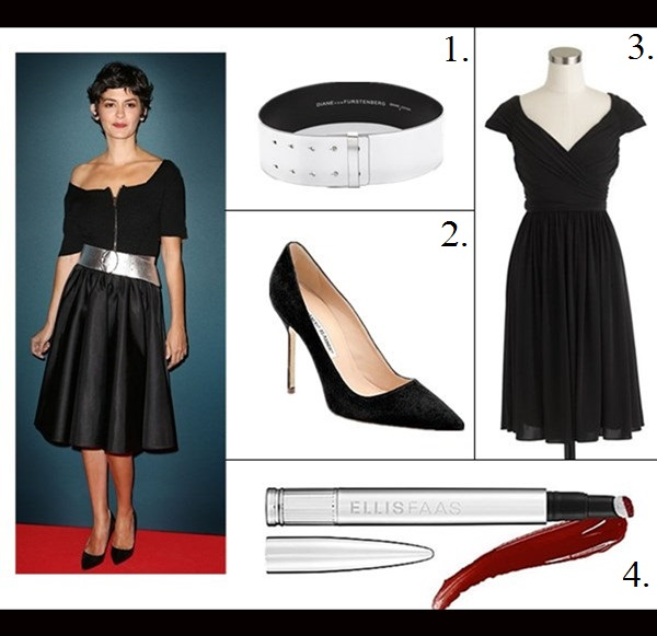 The art of accessorizing-Audrey Tautou, prada zip front black dress, silver belt, black pump,party outfit idea