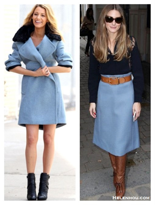 The art of accessorizing-Blake Lively, Olivia Palermo,blue coat, black booties, blue skirt, black blouse, brown boots, Chloé, Gucci