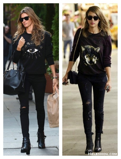 how to wear a sweatshirt, how to wear distressed denim,how to wear graphic tops, street style,fall/winter,  Gisele Bundchen,Jessica Alba,eye sweatshirt,black distressed skinny jeans, fringe booties, black tote, wolf sweatshirt, ankle booties, quilted chain bag, ray ban sunglasses,   On Gisele Bundchen: Ray-ban Light Force Wayfarer   Sunglasses,Kenzo Lotus-eye embroidered sweatshirt,black   distressed jeans, fringe buckle booties, black tote,   On Jessica Alba: Charles henry Print Front   Pullover,Current/elliott The Stiletto black distressed   Jeans,black booties, chanel bag, ray ban sunglasses,