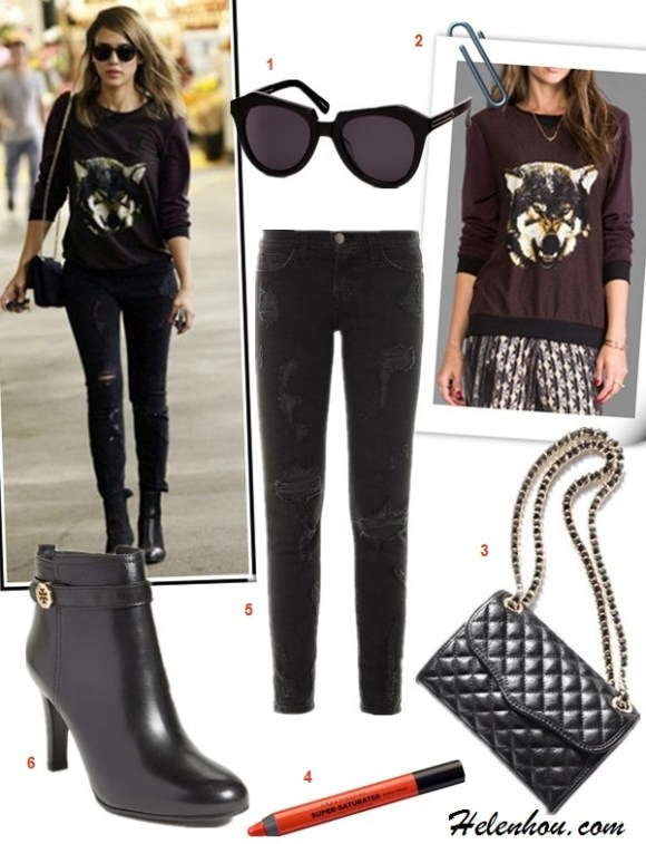 how to wear a sweatshirt, how to wear distressed denim,how to wear graphic tops, street style,fall/winter,  Gisele Bundchen,Jessica Alba,eye sweatshirt,black distressed skinny jeans, fringe booties, black tote, wolf sweatshirt, ankle booties, quilted chain bag, ray ban sunglasses,   On Gisele Bundchen: Ray-ban Light Force Wayfarer   Sunglasses,Kenzo Lotus-eye embroidered sweatshirt,black   distressed jeans, fringe buckle booties, black tote,   On Jessica Alba: Charles henry Print Front   Pullover,Current/elliott The Stiletto black distressed   Jeans,black booties, chanel bag, ray ban sunglasses, featured:  1. Karen Walker Number One ,  2. Charles HenryPRINT FRONT PULLOVER ,  3. Rebecca MinkoffQUILTED MINI AFFAIR BAG,  4. Urban Decay Super Saturated High Gloss Lip Color,  5. Current/ElliottTHE STILETTO JEANS,  6. tory burch 'BRITA' BOOTIE ,
