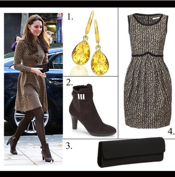 Kate Middleton style,party outfit ideas 2013, brown coat dress, brown suede booties, brown clutch,navy pleated skirt, navy jacket, navy suede pump, navy suede clutch On Kate Middleton:Kiki McDonough Eternal 18k Gold Citrine   Pear-Drop Earrings,Orla Kiely Birdie Shirt   Dress,Aquatalia brown booties,   Featured: 1. Kiki McDonough Eternal 18k Gold Citrine Pear-Drop Earrings, 2. AquataliaROYAL SUEDE STRETCH BOOTIE,  3. stuart weitzman THE SPORTELOPE CLUTCH,e)  4. Static Boucle Sheath by: Orla Kiely,