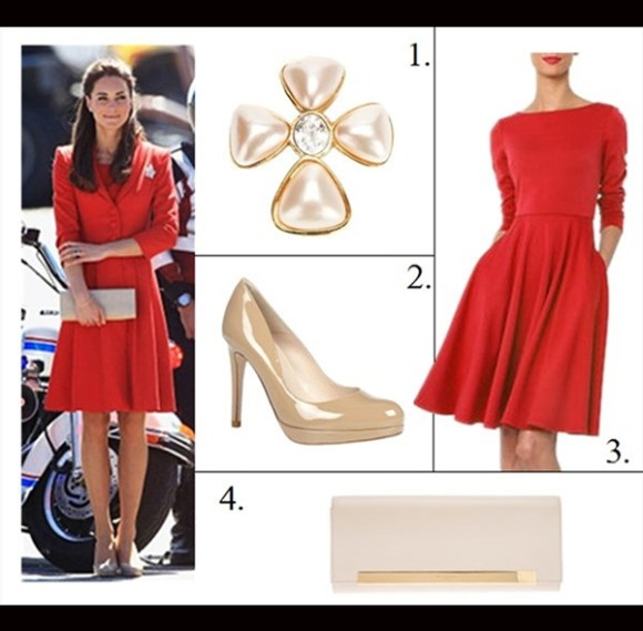 Kate Middleton style,party outfit ideas 2013, reiss cobalt blue dress coat, navy suede pump, suede belt, red coat dress, nude pump, beige clutch, leaf brooch, On Kate Middleton: Catherine Walker red coat dress, The   Queen's Canadian leaf brooch,LK Bennett cream   shoes.,Russell & Bromley clutch,  On Kate Middleton: reiss blue coatdress, navy suede pump, navy suede belt,  Featured: 1. CHANEL VINTAGECHANEL VINTAGE EMBELLISHED CROSS BROOCH,  2. L.K.BennettL.K.BENNETT PUMPS - SLEDGE ROUND TOE PLATFORM,  3. ISAAC MIZRAHI NEW YORK LONG-SLEEVED RED DRESS,  4. Saint LaurentSAINT LAURENT BEIGE LEATHER LUTETIA FLAP CLUTCH ,