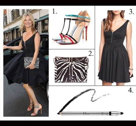 The art of accessorizing-Kate Moss, prada zip front black dress,Christian Louboutin color strap sandal, zebra clutch,party outfit idea