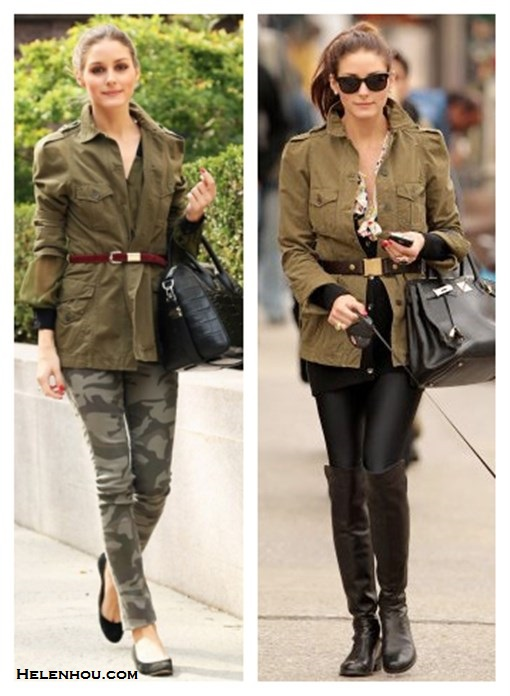 how to wear camo pants, how to wear army/military jackets, how to wear over-the-knee boots,  		   On Olivia Palermo:zara military army jacket,Givenchy 'Antigona' medium tote,True Religion Casey Camouflage-Print Skinny Pants, black ballet flat, burgundy plum skinny belt, On Olivia Palermo: zara military army jacket, tibi belt, Ted Baker boots,Rebecca Taylor floral blouse,hermes bag,ray ban wayfarer sunglasses,