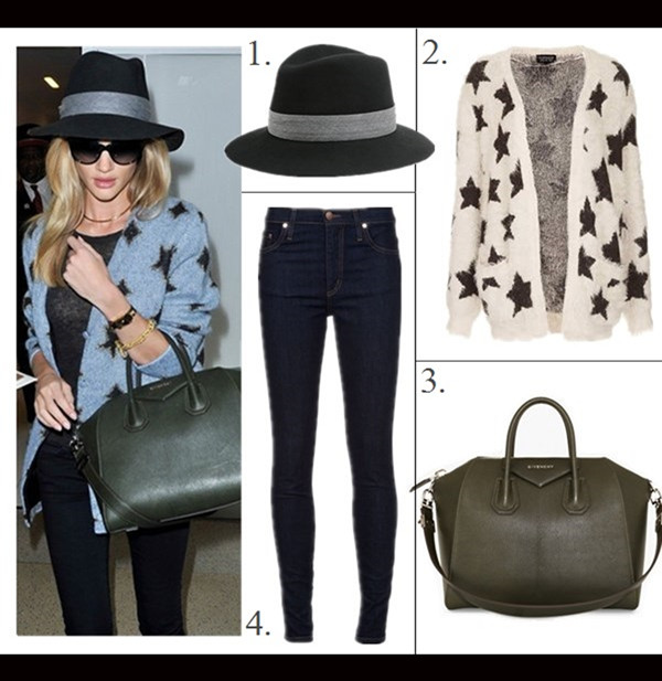 how to style chunky sweaters,  On Rosie Huntington-Whiteley:Jennifer Fisher choker gold necklace, Chanel cat eye sunglasses, Rag & Bone fedora hat, Balenciaga Voyage 24H black bag, Givenchy 'Antigona' medium tote, Saint Laurent star print cardigan,   celebrity street style, model off duty style, fall/winter,   Featured: 1. Rag & Bone Sloan Hat, 2. Topshop Knitted Fluffy Star Cardi, 3. Givenchy 'Antigona', 4. Nobody Cult Skinny Jeans,