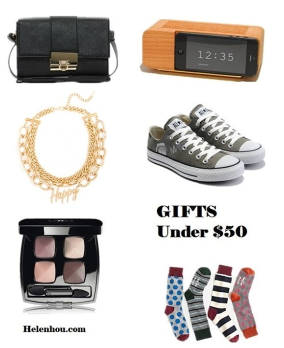 2013 Gift Ideas for Every Budget; Gifts for her: mom, wife, sisters,girlfriend; Gifts for him:Husband, Boyfriend, Dad, or Brother; Gifts for Yourself; Best Gifts under $50; Featured:  Asos cross body bag, Areaware wood phone stand for iphone 5/5S, Canvers sneaker, Happy Socks x Madewell trouser socks, Chanel Les 4 Ombres Quadra eye shadow , Atlantic-Pacific x BaubleBar gold text collar necklace