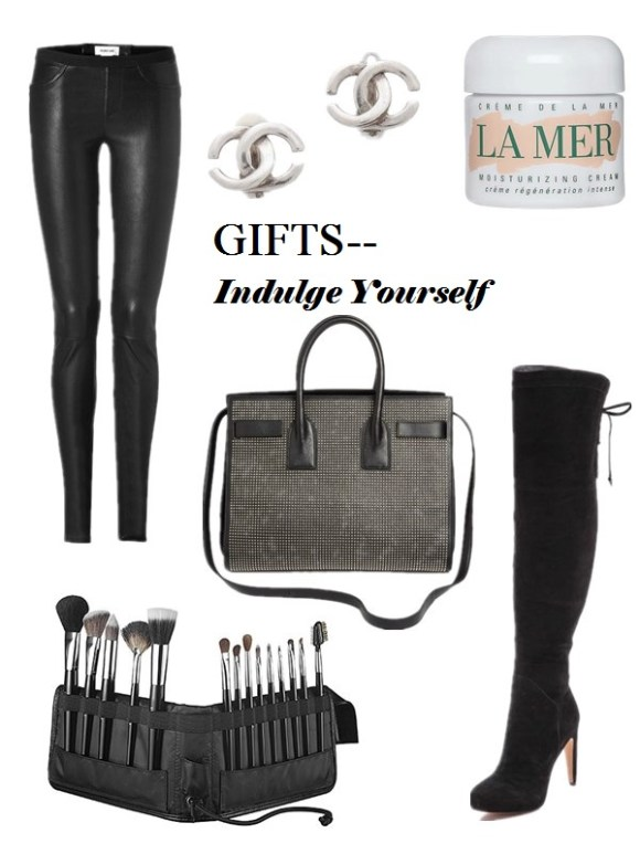 2013 Gift Ideas for Every Budget; Gifts for her: mom, wife, sisters,girlfriend; Gifts for him:Husband, Boyfriend, Dad, or Brother; Gifts for Yourself; Best Gifts under $50; Featured:  Helmut Lang stretch leather pants, Vintage Chanel CC Clip on earrings, La Mer Creme de La Mer, Sam Edelman 'Kayla' over the knee boots,, Sephora Deluxe Standing Easel Brush Set, Saint Laurent 'Sac de Jour' leather tote,