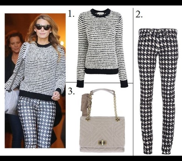 how to style chunky sweaters,  On Blake Lively, Isabel Marant Étoile Canelia stripe sweater,Isabel Marant Étoile 'Iti' hounds tooth trousers,Christian Louboutin Gine Patent Leather Bow Slipper, Black,  celebrity street style, model off duty style, fall/winter,   Featured: 1. Isabel Marant Etoile Canelia Knit, 2. Isabel Marant Etoile Houndstooth Trousers, 3. Lanvin 'Happy' Quilted Tote,