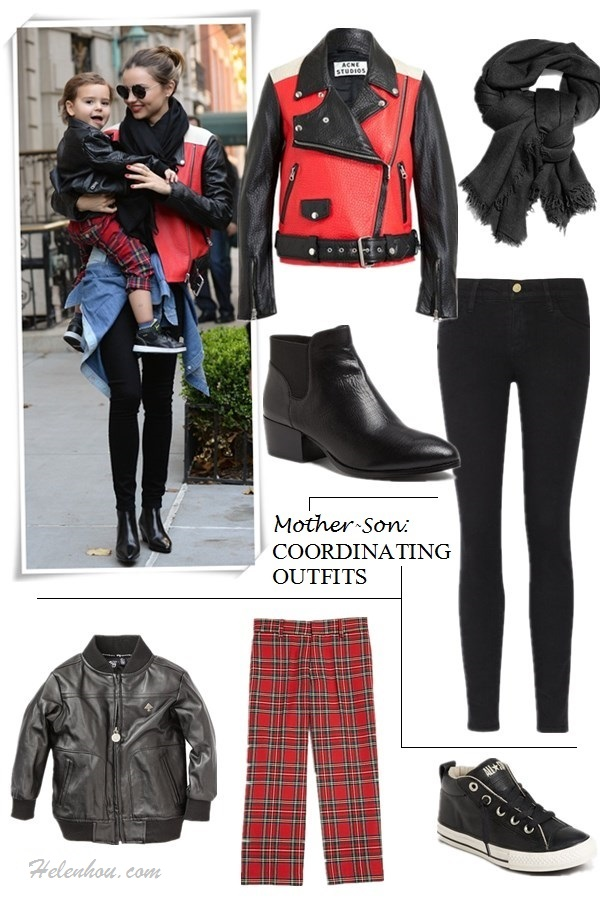 The art of accessorizing-helenhou.com-Miranda Kerr, son flynn, colorblock leather jacket, skinny jeans, ankle booties, scarf,sunglasses