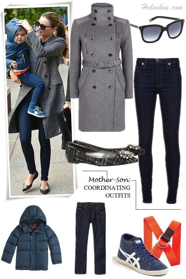 The art of accessorizing-helenhou.com-Miranda Kerr, son flynn, grey coat, ballet flat, skinny jeans,sunglasses