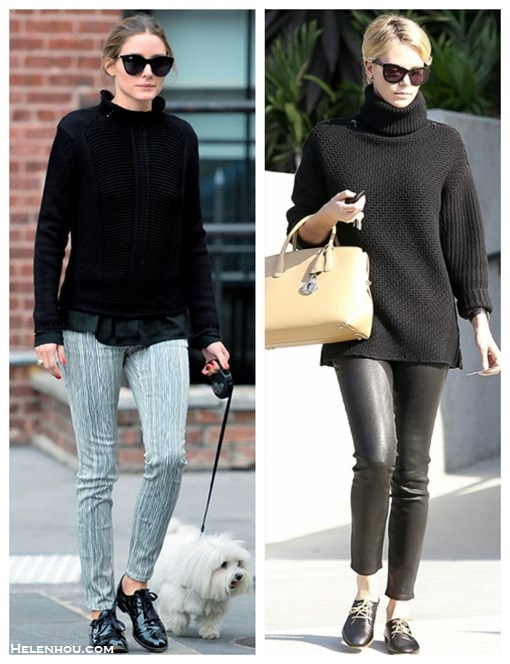 how to style black sweater, how to wear menswear shoes oxford, how to wear leather pants,   street style, fall/winter,  Olivia Palemro, Charlize Theron, black turtleneck sweater, printed pants, oxford, menswear, leather pants, beige tote, cat eye sunglasses,   On Olivia Palermo: Le Specs black cat eye sunglasses, black turtleneck sweater, black blouse, stripe printed pants, black menswear oxford, ring,   On Charlize Theron: black Turtleneck Boyfriend Sweater by Monika Chiang, beige leather top handle tote bag, leather pants, lace up menswear oxford, cat eye sunglasses,