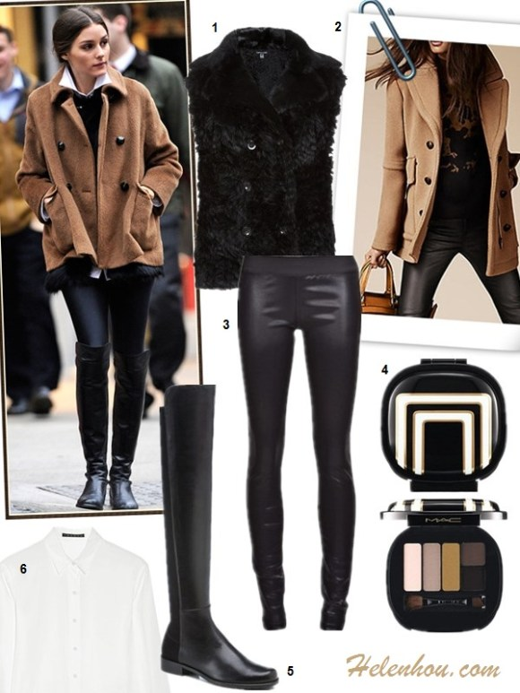 The art of accessorizing-helenhou.com-Olivia Palermo,camel coat,knee high boots, leather pants, fur vest