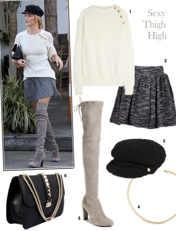 how to wear thigh high boots, models off duty looks, fall/winter, street style, On Rosie Huntington whiteley: Chanel bag, Hermes bracelet, Balmain Wool-blend sweater,printed mini skirt, Stuart Weitzman Highland grey suede boots,    Featured: 1. Balmain Wool-blend sweater, 2. Free PeopleKNIT HOLLY GO LIGHTLY SKIRT,  3. Lauren Ralph Lauren Bouclé Greek Fisherman Cap,  4. Jules Smith AMERICANA CHOKER,  5. Stuart Weitzman 'Highland' Over the Knee Boot,  6. Valentino 'Grande Lock' Leather Shoulder Bag,