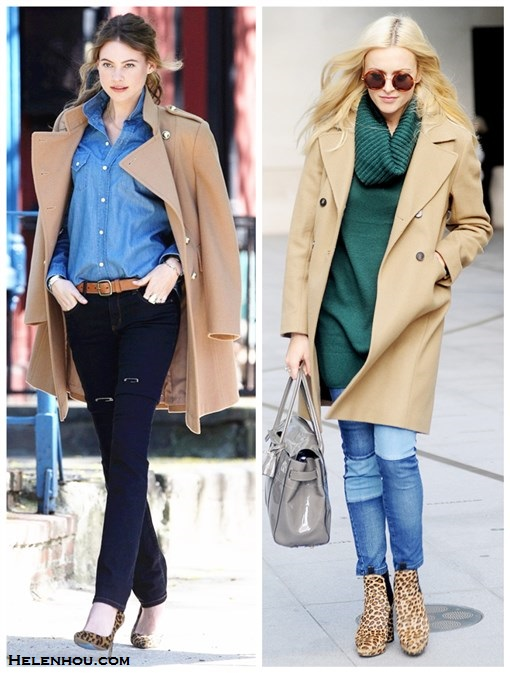 how to wear camel coats, camel and denim, how to wear leopard shoes,   Behati Prinsloo, Fearne Cotton, street style, fall/winter,   Behati Prinsloo poses during a Victoria's Secret photo shoot: camel coat, denim/chambray shirt, black skinny jeans, leopard pump, brown belt, gold bracelet,   Fearne Cotton: Linda Farrow For The Row Acetate Lennon round retro Sunglasses, Aubin & Wills camel coat, h&m turtleneck sweater, Fearne Cotton for Very.co.uk patchwork jeans, Mulberry bayswater grey bag, Hobbs leopard boots