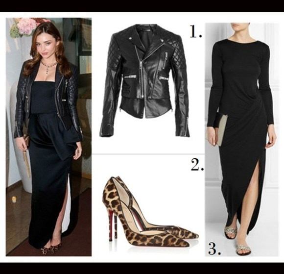 How to wear leather jacket, how to wear fringe, street style, party outfit ideas, fall/winter,  	Miranda Kerr, fringed leather jacket, skinny jeans, Givenchy Antigona , ankle boots, sunglasses, dior dress, leopard pump 	On Miranda Kerr:BALENCIAGA quilted leather biker jacket, Christian Louboutin Iriza Leopard-Print Pony Hair Pumps, Bulgari jewlery,  Christian Dior dress, Featured: 1. BALENCIAGA quilted leather biker jacket,  2. Christian Louboutin Iriza Leopard-Print Pony Hair Pumps,  3. DAGMAR Martika wrap-effect jersey maxi dress