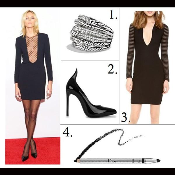 The Art of Accessorising-Helenhou.com-Party outfit idea-Anja Rubik,Saint Laurent black dress black pump, polka dot tights