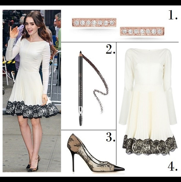 The Art of Accessorising-Helenhou.com-Party outfit idea-Lily Collins, Valentino white dress, lace Jimmy Choo pumps