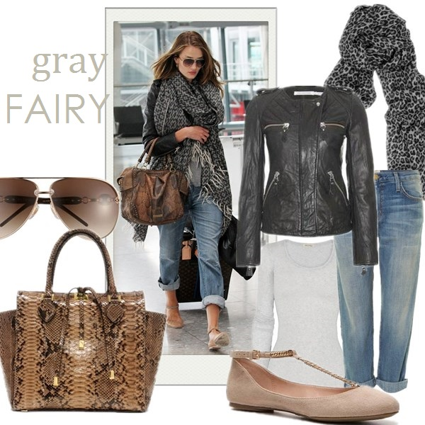 how to wear leather, how to wear boyfriend jeans, airport style, fall/winter, street style,   On Rosie Huntington Whiteley: LAURENCE DACADE beige studded Ankle boots, Helmut Lang Skinny Leather Pant, Givenchy Antigona satchel,  Anita Ko jewelry, Givenchy sunglasses, grey sweater, leopard scarf  Featured:  Equipment 'Sloane' Crewneck Cashmere Sweater,Helmut Lang leather pants,  Laurence DacadeSTUDDED ANKLE BOOT,  Givenchy KENYA METAL SMALL ANTIGONA DUFFEL,  GivenchySQUARE SUNGLASSES,  Lauren Ralph Lauren Wool Infinity Scarf