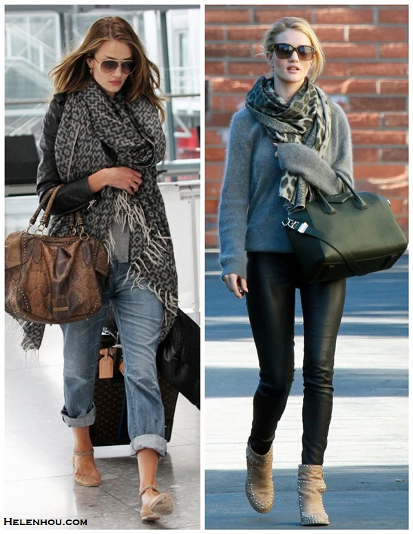 how to wear leather, how to wear boyfriend jeans, airport style, fall/winter, street style,  Rosie Huntington Whiteley, leather jacket, boyfriend jeans, ballet flat, python bag, oversized scarf, grey sweater, sunglasses, leather pants, givenchy antigona, leopard scarf,  On Rosie Huntington Whiteley: LAURENCE DACADE beige studded Ankle boots, 	Helmut Lang Skinny Leather Pant, Givenchy Antigona satchel,  Anita Ko jewelry, Givenchy sunglasses, grey sweater, leopard scarf On Rosie Huntington Whiteley: Chloe braided ankle strap flat, Isabel Marant black leather jacket, grey top, Current/Elliott boyfriend jeans, mulberry python bag, mulberry aviator sunglasses, grey printed chunky scarf