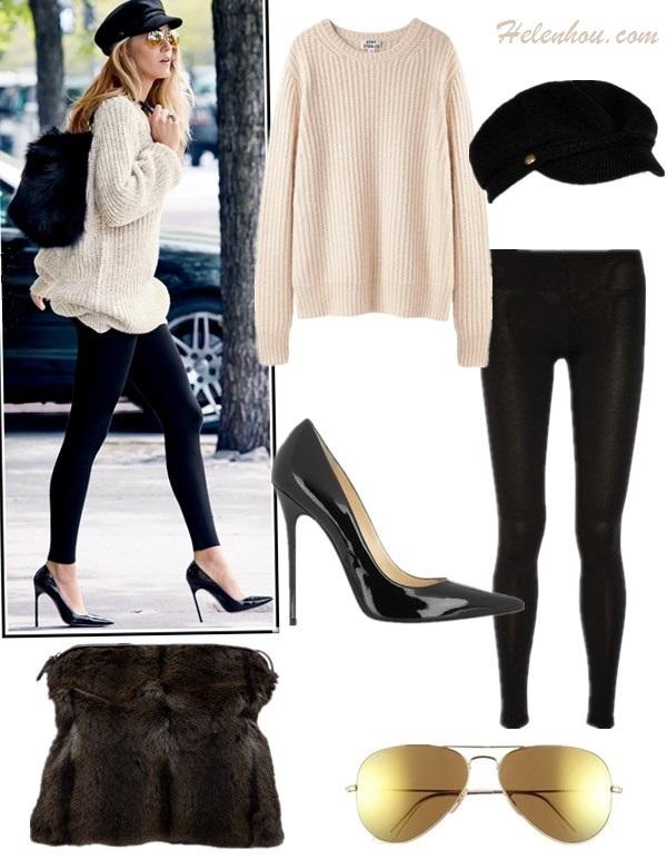 The art of accessorizing-helenhou.com-Blake Lively, lucky shoot, oversize sweater, black pump, cap, fur bag