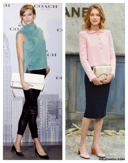 The art of accessorizing-helenhou.com-Karlie kloss,Natalia Vodianova,party outfit,blue fur top,leather pants, pink jacket, black pencil skirt, chanel