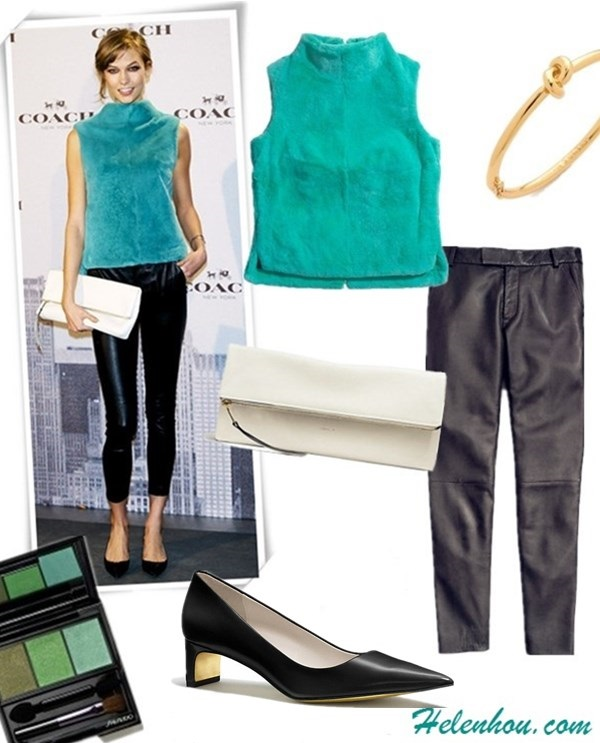 The art of accessorizing-helenhou.com-Karlie kloss,party outfit,coach, blue fur top,leather pants,white clutch, black pump